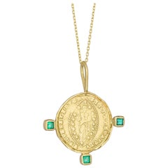 Byzantine Mandorle Medallion Necklace with Emeralds, 18 Karat Yellow Gold