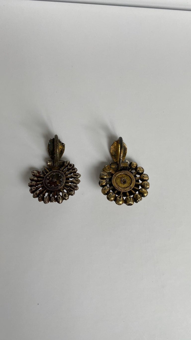 Balkan Byzantine Silver-Gilted Filigree Bride's Earrings Arpalii, 19th Century Bulgaria For Sale