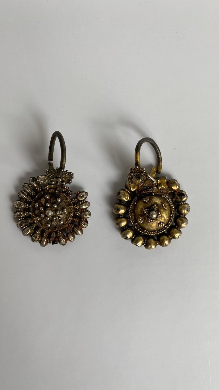Bulgarian Byzantine Silver-Gilted Filigree Bride's Earrings Arpalii, 19th Century Bulgaria For Sale