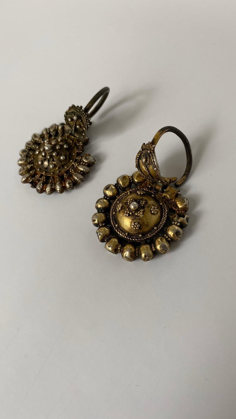 Byzantine Silver-Gilted Filigree Bride's Earrings Arpalii, 19th Century Bulgaria In Good Condition For Sale In London, GB