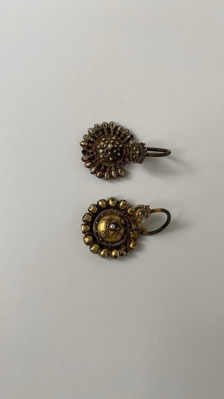 Late 19th Century Byzantine Silver-Gilted Filigree Bride's Earrings Arpalii, 19th Century Bulgaria For Sale
