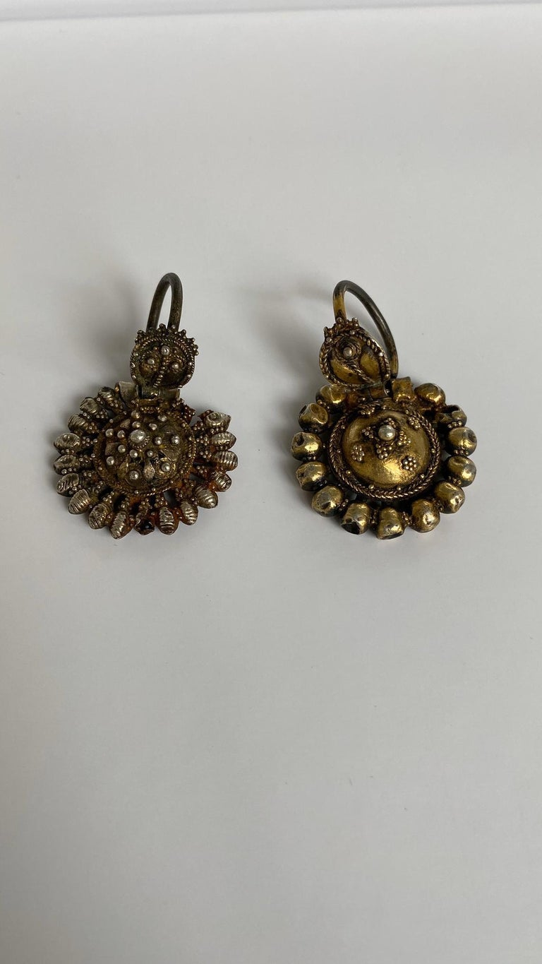 Byzantine Silver-Gilted Filigree Bride's Earrings Arpalii, 19th Century Bulgaria For Sale 1