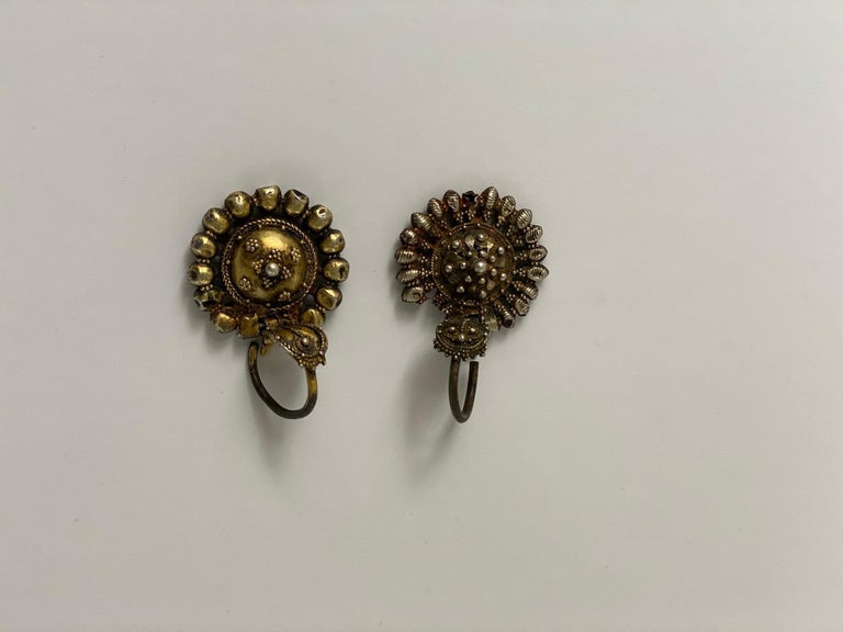 Byzantine Silver-Gilted Filigree Bride's Earrings Arpalii, 19th Century Bulgaria For Sale 2