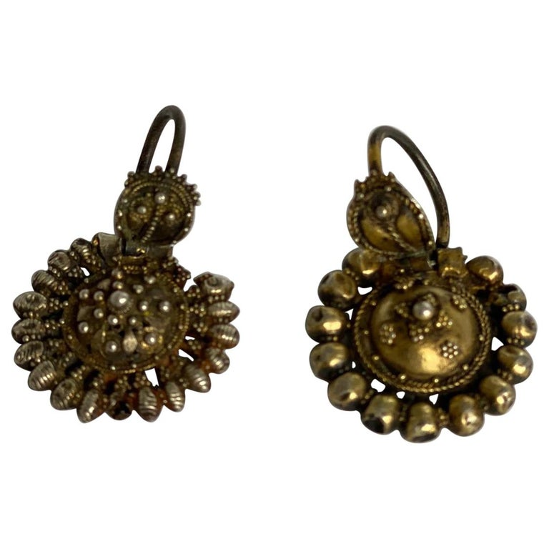 Byzantine Silver-Gilted Filigree Bride's Earrings Arpalii, 19th Century Bulgaria For Sale