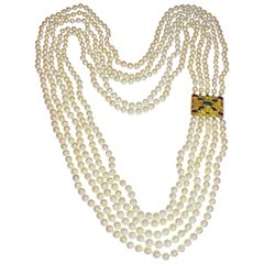 GEMOLITHOS Byzantine Style and Culttured Pearl Long Necklace