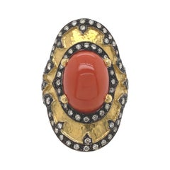 Byzantine Style Coral and Diamond Hammered Finished Ring 18 Karat Yellow Gold