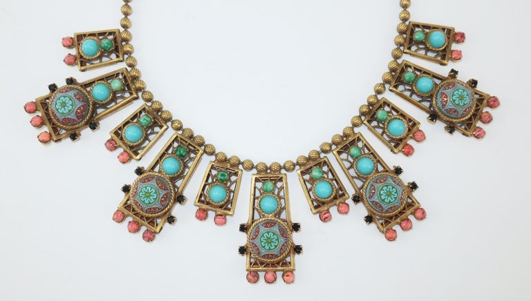 Byzantine Style Faux Turquoise & Coral Bib Necklace In Good Condition For Sale In Atlanta, GA