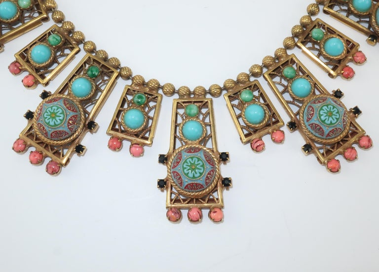 Women's Byzantine Style Faux Turquoise & Coral Bib Necklace For Sale