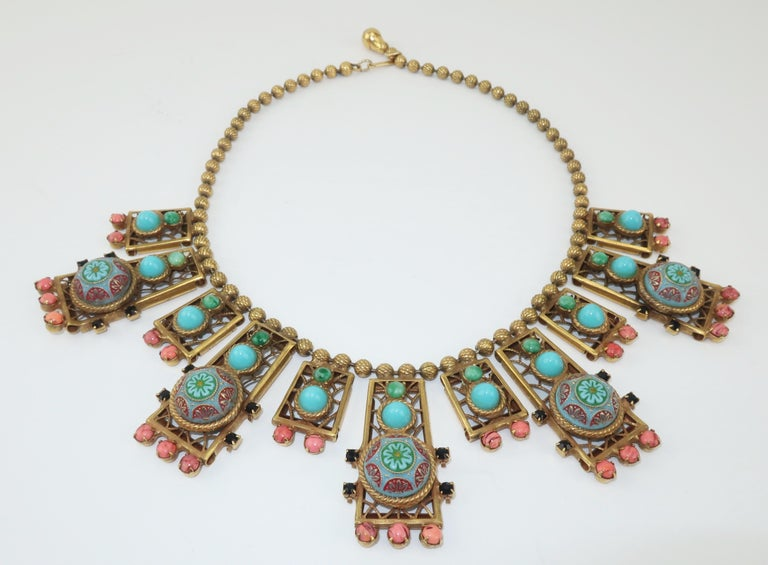 Byzantine Style Faux Turquoise & Coral Bib Necklace For Sale 1