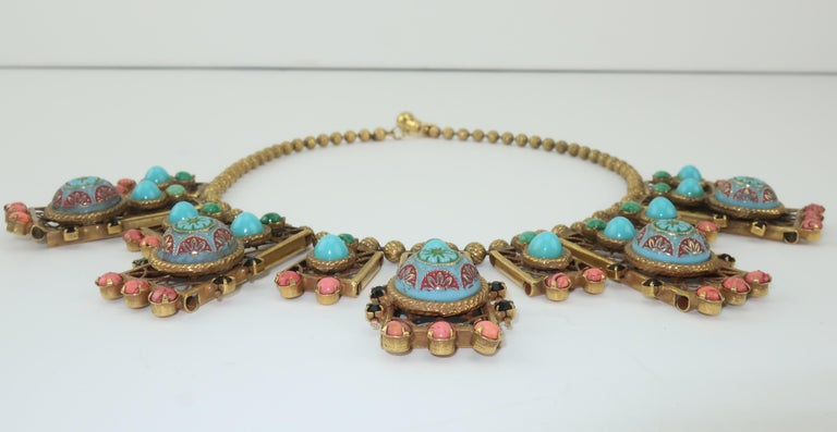 Byzantine Style Faux Turquoise & Coral Bib Necklace For Sale 2