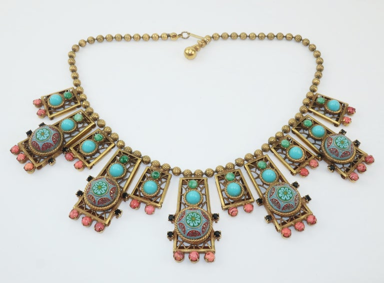 Byzantine Style Faux Turquoise & Coral Bib Necklace For Sale 3