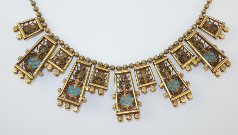Byzantine Style Faux Turquoise & Coral Bib Necklace For Sale 4