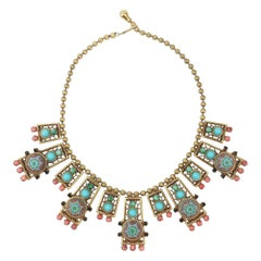Byzantine Style Faux Turquoise & Coral Bib Necklace