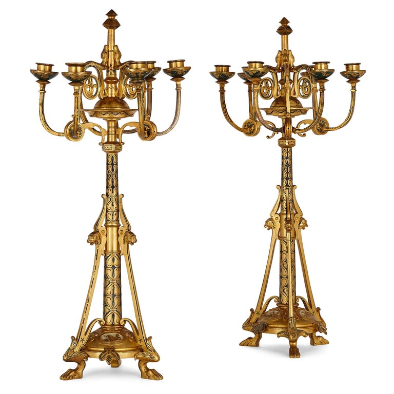 Byzantine Style Gilt Bronze and Champlevé Enamel Garniture by Raingo Frères For Sale 4