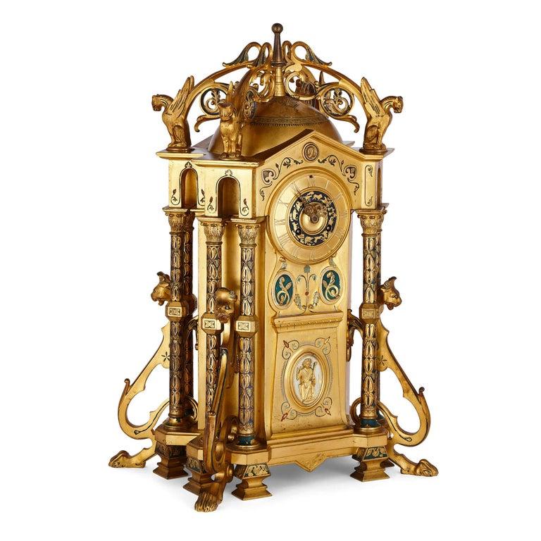 French Byzantine Style Gilt Bronze and Champlevé Enamel Garniture by Raingo Frères For Sale