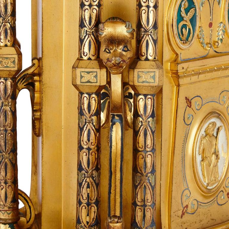 Ormolu Byzantine Style Gilt Bronze and Champlevé Enamel Garniture by Raingo Frères For Sale