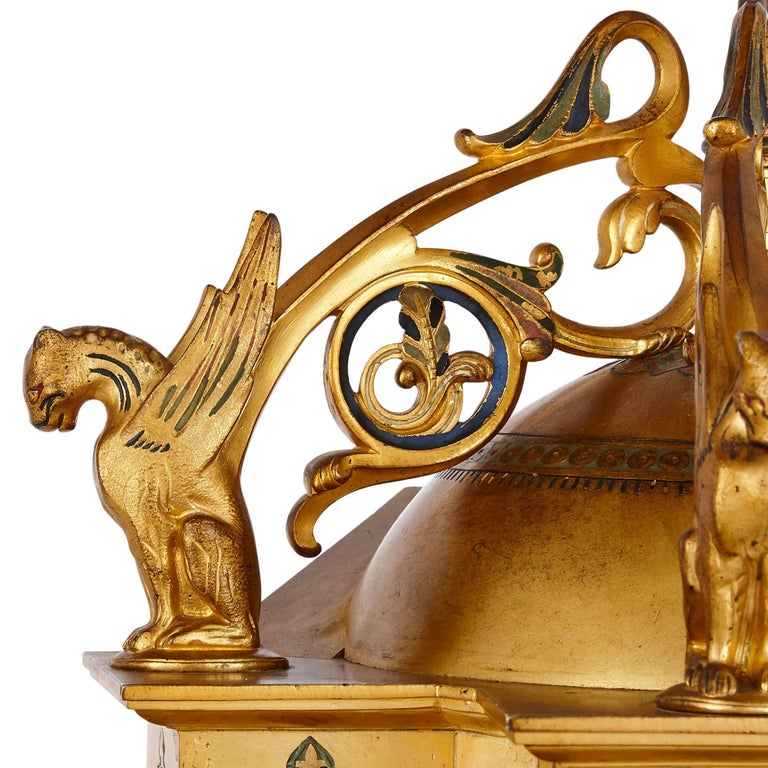 Byzantine Style Gilt Bronze and Champlevé Enamel Garniture by Raingo Frères For Sale 2