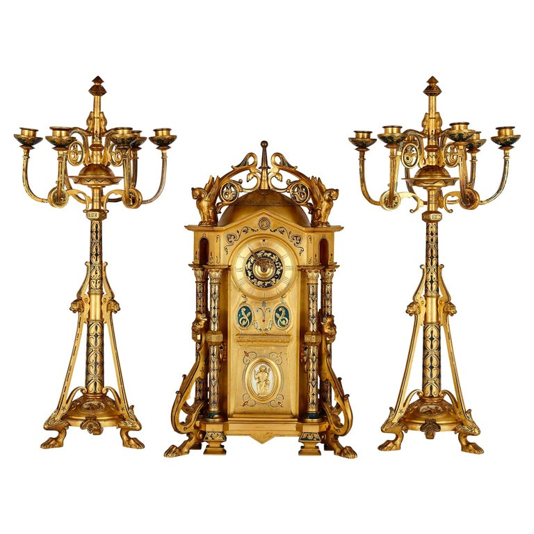 Byzantine Style Gilt Bronze and Champlevé Enamel Garniture by Raingo Frères For Sale