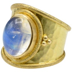 Byzantine Style Moonstone Yellow Ring Gold Textured