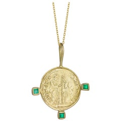 Byzantine Venice Domino Contrarini Medallion with Emeralds, 18 Karat Yellow Gold