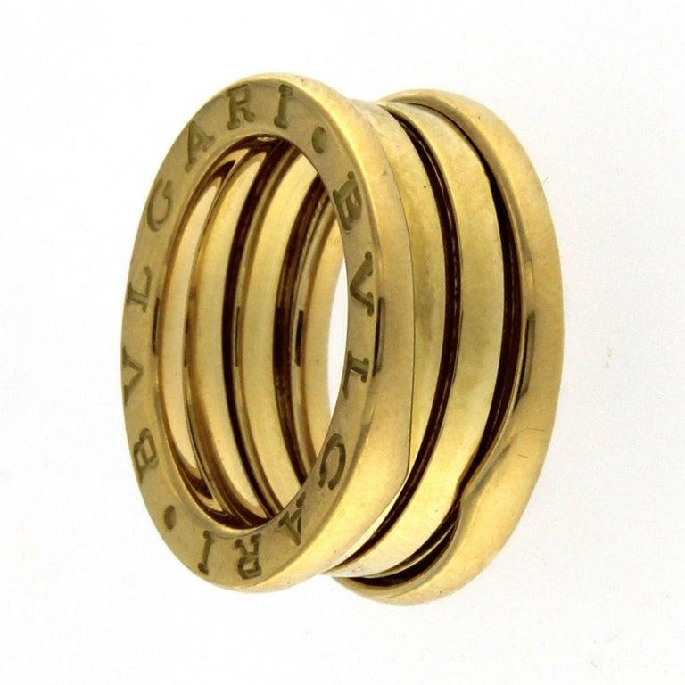 Women's or Men's BZERO1 Ring 18 Karat Yellow Gold 3 Band For Sale
