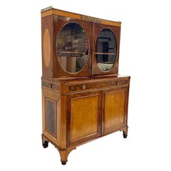 c. 1785 George III Ladies Satinwood, Tulipwood, and Mahogany Writing Cabinet