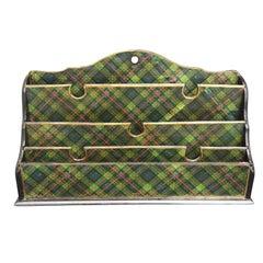Scottish Large Green Tartan Letter Holder Shelf, circa 1860-1880