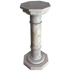 Octagonal Faux Marble Painted Wood Column/Pedestal/Stand, circa 1890