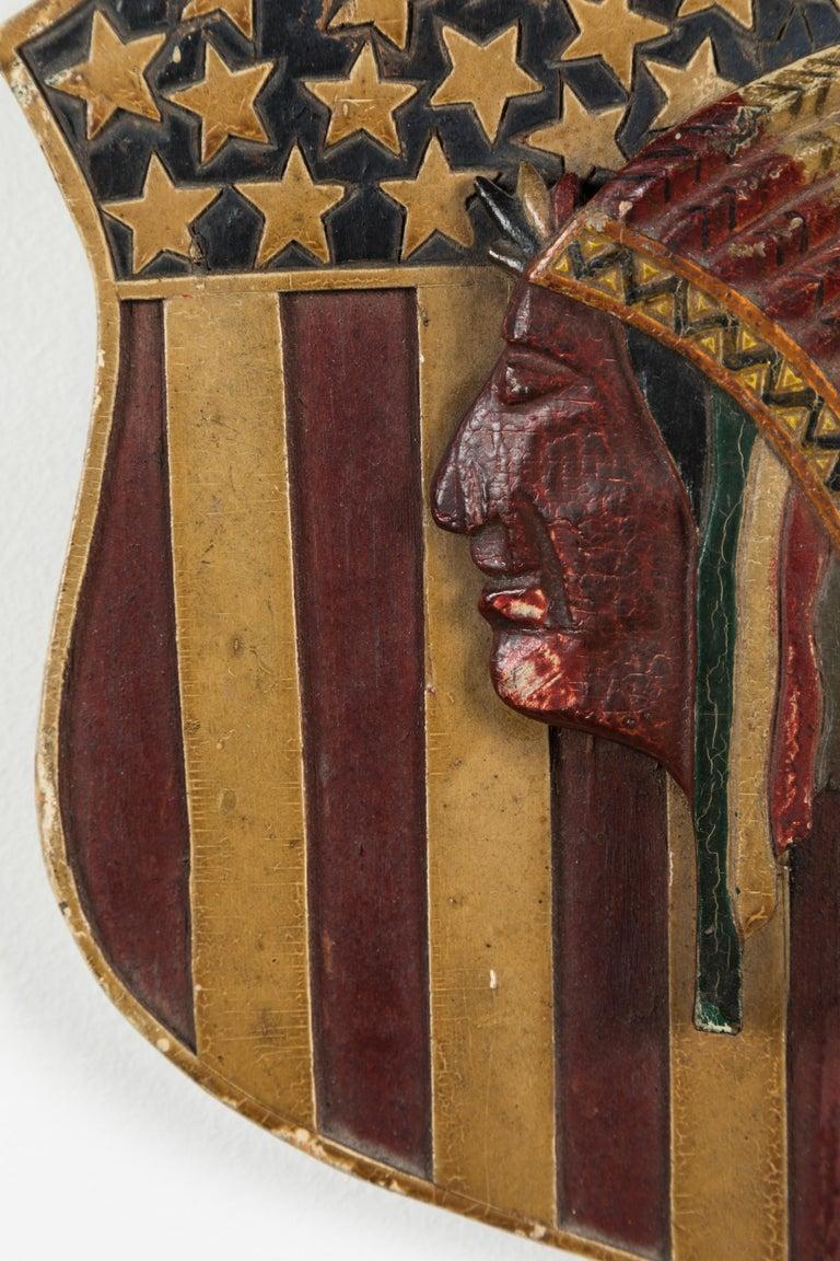 Folk Art Carved Native American Patriotic 41 Star American Flag Shield In Good Condition For Sale In Santa Monica, CA