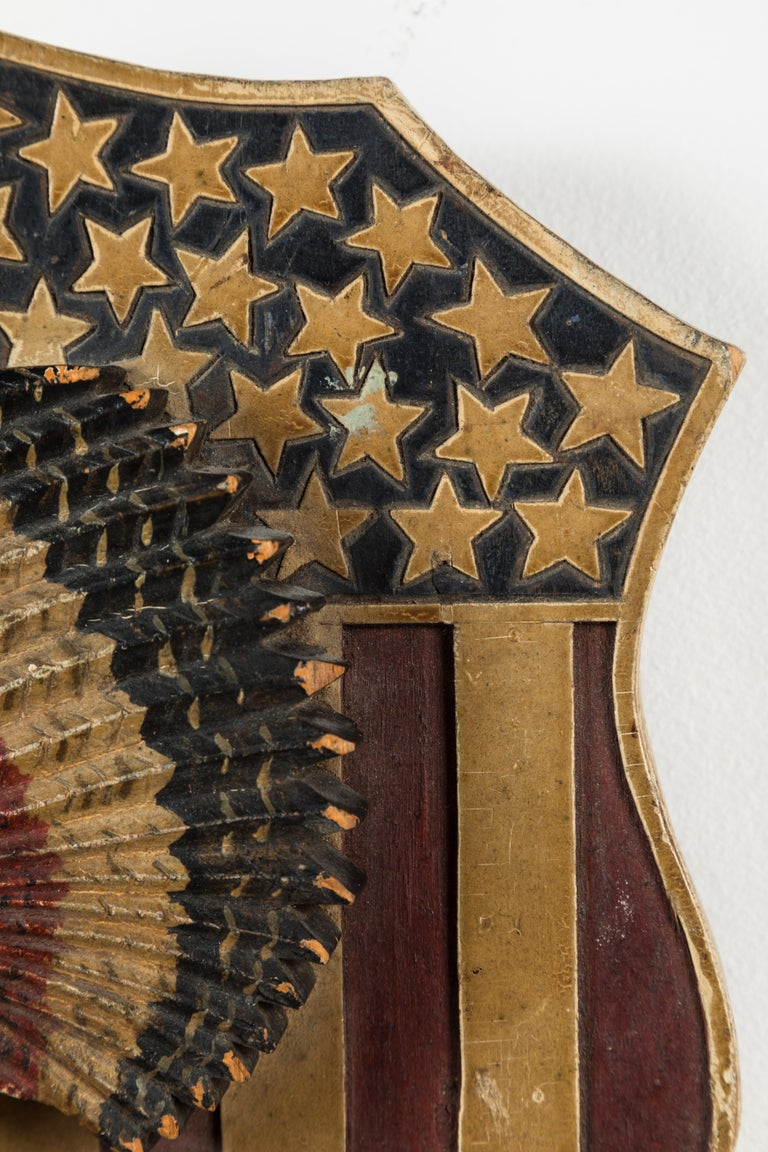 Late 19th Century Folk Art Carved Native American Patriotic 41 Star American Flag Shield For Sale