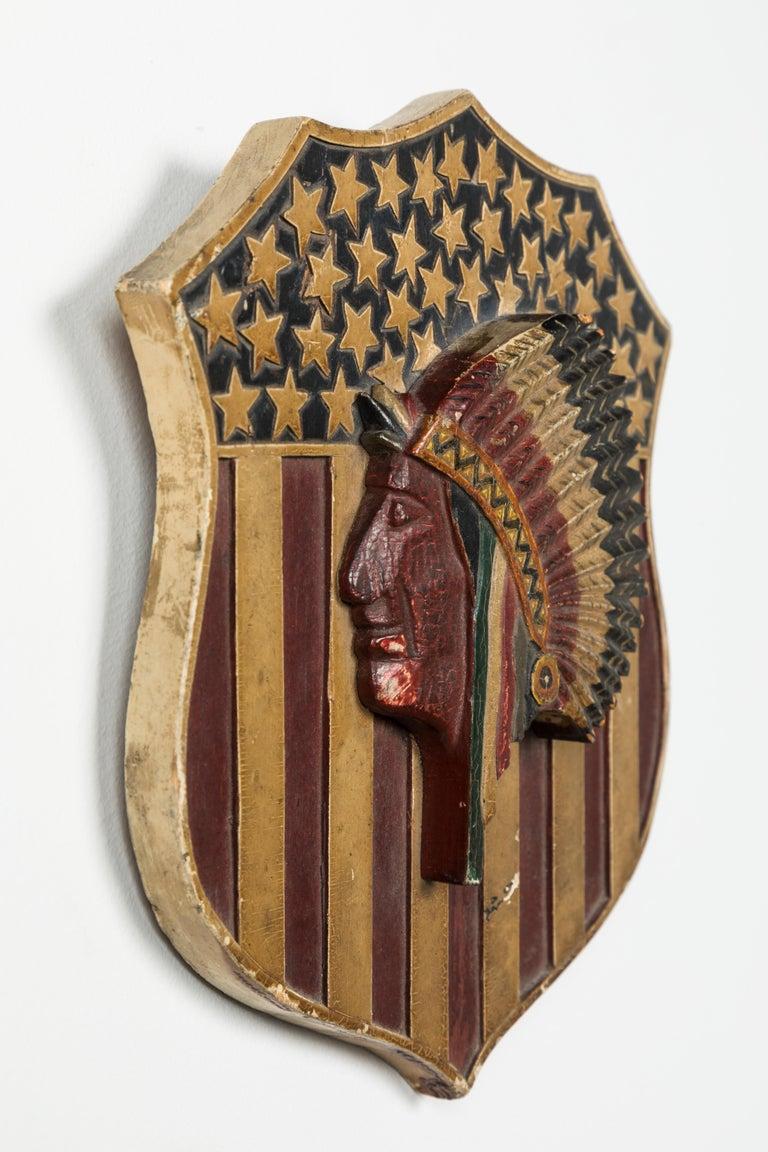 Wood Folk Art Carved Native American Patriotic 41 Star American Flag Shield For Sale