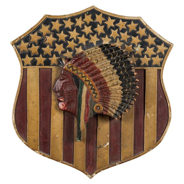 Folk Art Carved Native American Patriotic 41 Star American Flag Shield For Sale