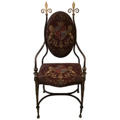 Handmade Wrought Iron & Burnished Brass Throne Chair with Armorial Fabric, 1890s