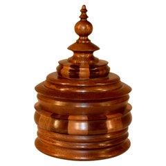 C. 1900 Turned XL Wooden Treen Jar