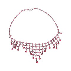 Red Paste and Metal Fringe Necklace, circa 1920