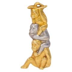 C. 1930 Chuamet 18 Karat Gold Monkey Brooch