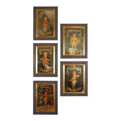 German Engraved and Parcel Gilt Mirrored Panels, circa 1950