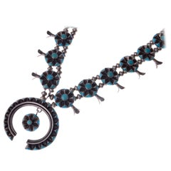Kee Joe Benally Turquoise and Sterling Squash Blossom Necklace, c. 1960