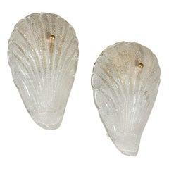 C. 1960 Murano Leaf Sconces