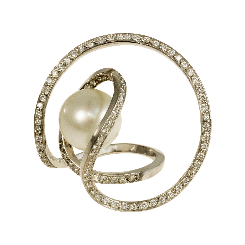 c. 1970 Jean Vendome Diamond, Pearl and White Gold Ring