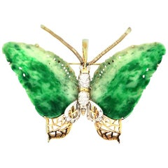 Vintage Jade & Diamonds Butterfly 14kt Gold Enhancer Pendant or Pin, circa 1970