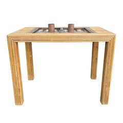 Bamboo Game Table with Pieces, circa 1970s