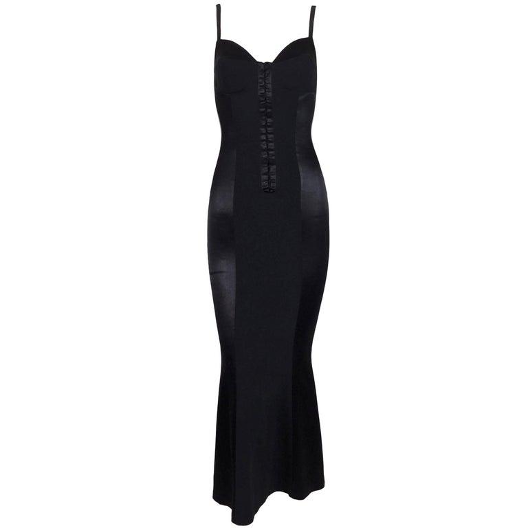 C. 1991 Dolce & Gabbana Black Corset Mermaid Pin-Up Long Wiggle Dress