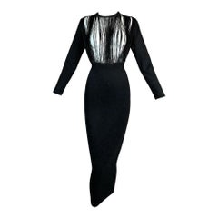 C. 1992 Jean Paul Gaultier Sheer Fringe Chest Bandage Bodycon Wiggle Dress