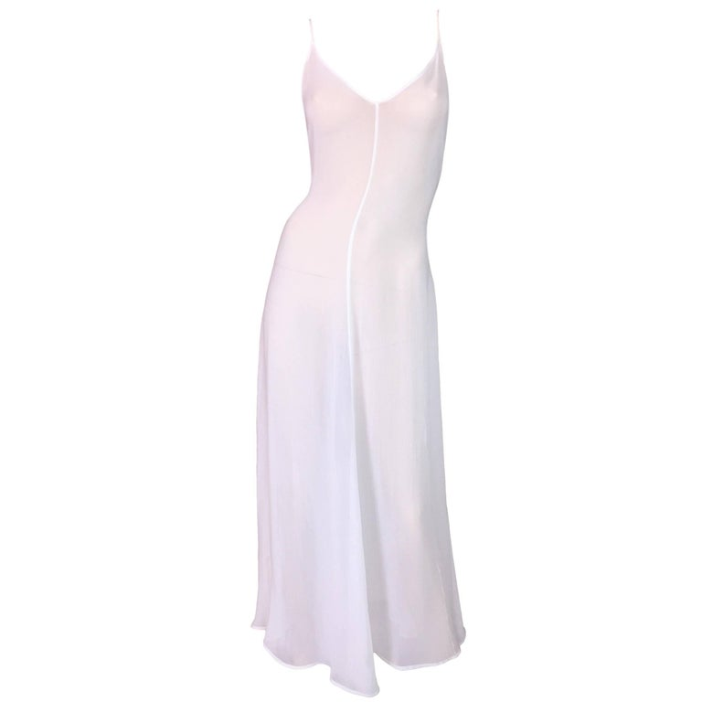 C. 1993 Dolce & Gabbana Sheer White V Neck Summer Gown Dress