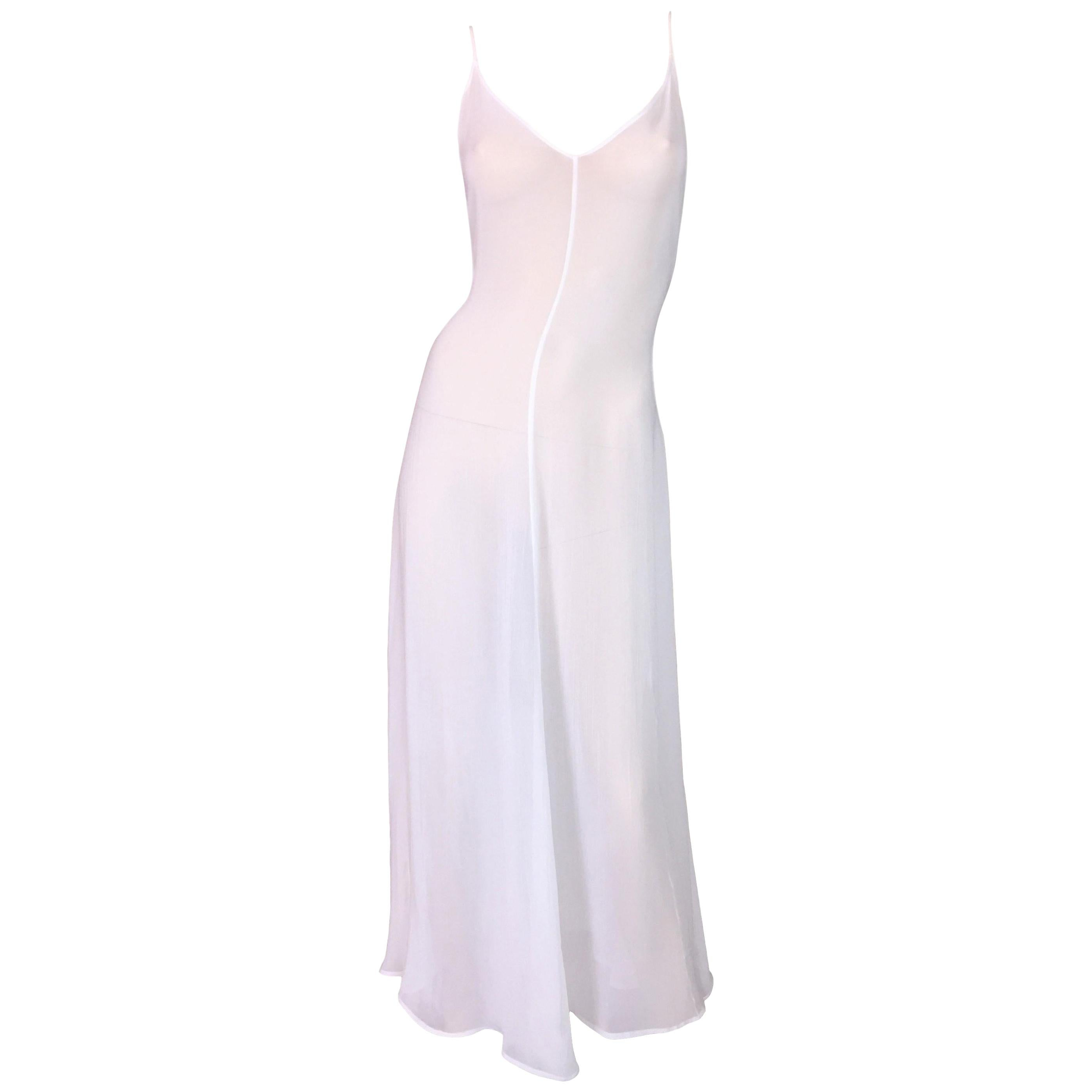 C. 1993 Dolce & Gabbana Sheer White V Neck Summer Gown Dress