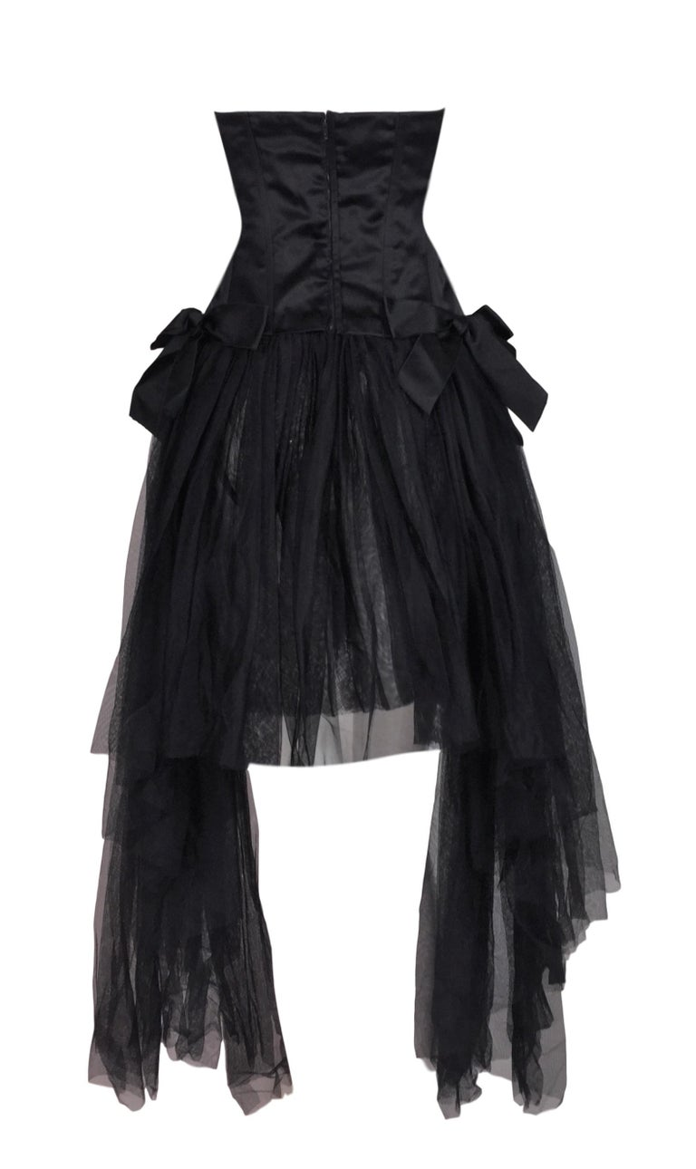 C. 1995 Chanel Ballerina Sheer Black Mesh Bustier Dress w/ Tulle & Bows In Good Condition For Sale In Yukon, OK