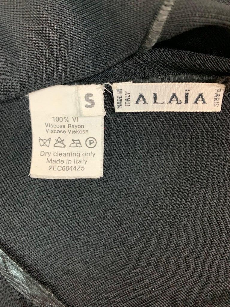 Women's C. 1998 Azzedine Alaia Sheer Black Knit Asymmetrical Seams Mermaid Gown Dress For Sale