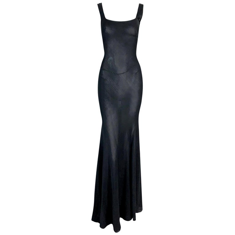 C. 1998 Azzedine Alaia Sheer Black Knit Asymmetrical Seams Mermaid Gown Dress For Sale