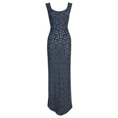C. 1998 John Galliano Sheer Blue Knit Maxi Dress